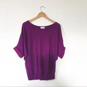 LOFT purple prima cotton bay wing sweater size M